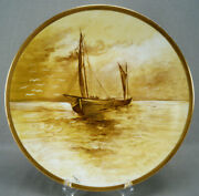 Limoges Hand Painted Signed Leroux Sailboats Maritime Scene Yellow Gold Charger