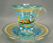 Salviati Italian Enamelled Gondola Scene Floral And Gold Blue Glass Cup And Saucer A