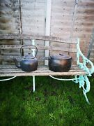 Antique Cast Iron Kettle And Kenrick 2andfrac12 Gallon Gypsy Cooking Pot Prop Restoration