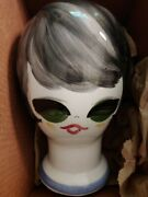 Ceramic, Hand Painted, Head For Wig Or Hat Display