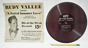 Rudy Vallee Picture Phonograph Gramophone Hit Of The Week 78 Rpm Record And Sleeve