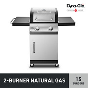 2 Burner Stainless Steel Outdoor Bbq Grill Natural Gas Sleek Handle Design New