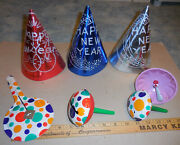 Vintage Lot Of Happy New Year 3 Hats And 4 Noise Makers Poka Dot