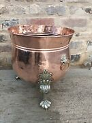 Vintage Large Copper Planter Pot With Brass Claw Feet And Lion's Heads