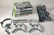 Xbox 360 Elite Console 120gb 7371 Console Bundle W/ Controllers Games And Mic