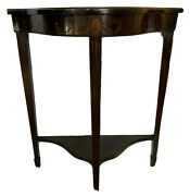 Michigan Chair Company Antique Demilune Table Mahogany Console Accent Side Table