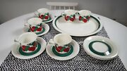 Arabia Finland Kirsikka / Cherry Coffee Cups And Saucers 6 Pcs And Serving Plate