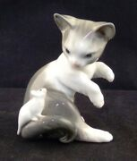 Lladro Cat And Mouse Kitten With Bow Gloss Finish Figurine 5236 Retired