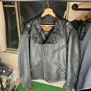 Vintage Made In Usa Harley Davidson Leather Jacket Metal Band Andldquopower From Hellandrdquo