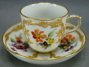 Kpm Berlin Neuzierat Hand Painted Floral And Raised Gold Demitasse Cup And Saucer I