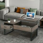 Vintage Rectangular Coffee Table W/ Hidden Storage For Living Room Easy Assembly