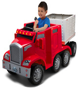 Ride On Toy Semi Truck And Trailer With 12v Rechargeable Battery And Charger Red