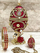 Christmas Gift For Her Russian Egg + Faberge Necklace + Ruby Bracelet 24k Gold