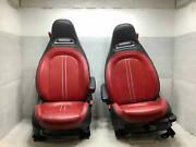 12-17 Fiat 500 Pair Front Leather Bucket Seats Black And Red Dlxx 2dr
