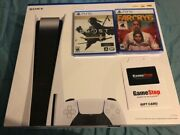 Sony Playstation 5 Disk Console Nib 2 Games Gift Card Free Ship And 1 Yr Ps+