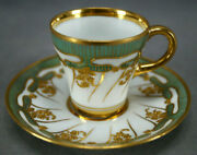 Dresden Richard Klemm Raised Beaded Gold Floral And Green Demitasse Cup And Saucer