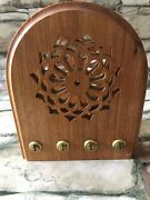 Old Fashion Radio Wood Wooden Napkin Letter Holder Oak Hand Crafted, 6 X 5