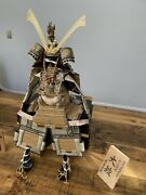 Old Antique Japanese Full Samurai Armor W/ Helmet, Stand And Box 30 Inches High