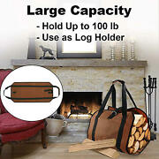 Firewood Wood Carrier Bag Camping Tote Bag Stove Tool Waxed Canvas Firewood Log