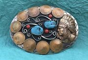 Vtg Rare ✔️ 9 Indian Head Pennies ✔️ Turquoise And Coral Indian Chief Belt Buckle