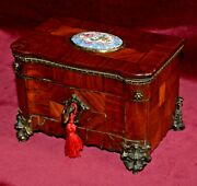 Antique Victorian French Ornate Kingwood And Ormolu Box With Porcelain Panel