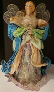 Colorful 13.5 Angel Christmas Tree Topper Porcelain Head And Hands Metal Wings