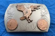 Vtg Rare Comstock Silversmiths Eagle And Indian Head Pennies Western Belt Buckle