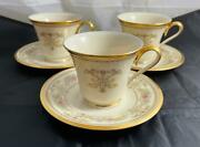 Set Of 3 Lenox Castle Garden Cups And Saucers Discontinued Made In Usa