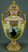 Antique Coalport Hand Painted Girl In Black Dress Pink Yellow And Raised Gold Urn