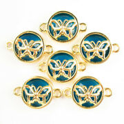 18pcs Wrapped Blue Crystal Round Gold Butterfly Connector Pendant Bead 1763sj