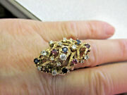 Large 14k Gold And Diamond/ruby/sapphire Ring Make Offer