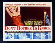 Donand039t Bother To Knock Cinemasterpieces Marilyn Monroe Movie Poster 1952