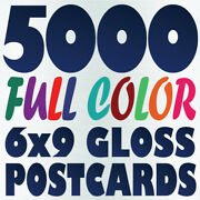 5000 6x9 Full Color Custom 16pt Postcard Printing   Gloss Or Matte   Two Sides