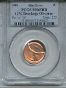 2000 Mint Error-pcgs Ms 65 Red Lincoln Penny 40 Brockage Obverse-extremely Rare