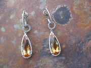 14 Kt White Gold Pave Diamond And Citrine Earrings Hoop W/ Dangle Earring Charms