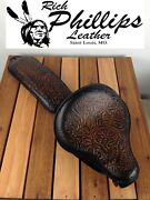 07-09 Richphillips Leather Motorcycle Ant. Black Seat Pad Harley Sportster Mount