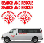Sar Search And Rescue Compass Rose Vinyl Decal Set In Red Universal