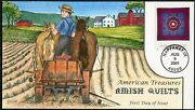 3524--3527 4 Diff Collins Fdc Cachet Hand Painted Amish Quilts Bp7320