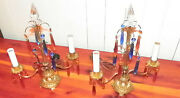 Antique Bronze Candelabra Lamps, Crystal Spiked Top And Colored Prisms 5470