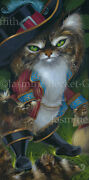 Jasmine Becket-griffith Art Big Print Signed Puss In Boots Fairytale Magic Cat