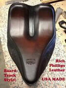 Rich Phillips Leather Board Track Motorcycle Seat Chopper Bobber Harley Davidson