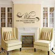 Personalized Custom Family Name And Est Date Vinyl Wall Quote Decal Sticker Home