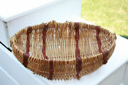 Large Vintage Hand-woven Vine Buttock Basket With Godand039s Eye And Hand Dyed Reeds