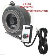 8 Inline 760cfm Hydroponics Duct Tube Exhaust Fan Blower + Speed Controller