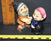 Vintage Set Of Two Of The 7 Dwarfs Salt And Pepper Shakers 5577a