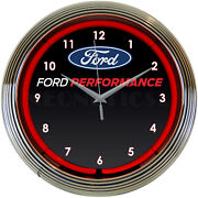 Neon Clock Sign Ford Performance Parts Racing Flags Svt Mustang Gt Garage Lamp