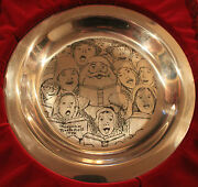 Christmas Caroler Plate Rare Mint Condition And03972 Norman Rockwell Sterling Silver