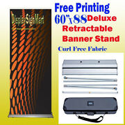 60 X 88 Retractable Free Fabric Graphic Printing Roll Up Banner Stand W/ Case