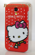 For Samsung Galaxy S4 Cute Hello Kitty Kitten Red Hot Pink Polka Dot Case  Siv