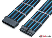 Shakmods 24pin Atx Mobo 30cm Black And Light Blue Sleeved Extension 2 Cable Combs